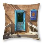 Blue Door On Canyon Road Throw Pillow