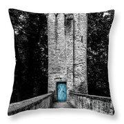Blue Door Tower Throw Pillow
