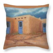 Blue Doors In Taos Throw Pillow by Jerry McElroy