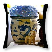 Blue Dragon And Hydrangeas Throw Pillow