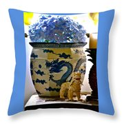 Blue Dragon And Hydrangeas Throw Pillow