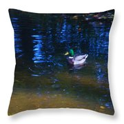 Blue Duck Throw Pillow