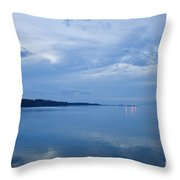 Blue Dusk At Yorktown Throw Pillow