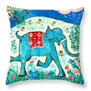 Blue Elephant Facing Right Throw Pillow by Sushila Burgess