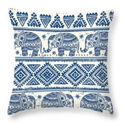 Blue Elephant With Ornaments Design Throw Pillow