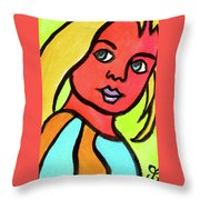 Blue Eyed Blonde Throw Pillow