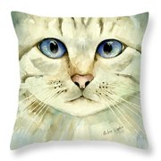 Blue-eyed Cat Throw Pillow