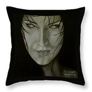 Blue-eyed Girl Throw Pillow