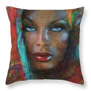 Blue Eyes Dark Oriental Throw Pillow
