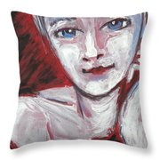 Blue Eyes - Portrait Of A Woman Throw Pillow