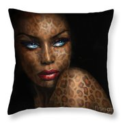Blue Eyes Wild 3 Throw Pillow
