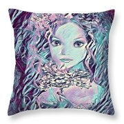 Blue Fairy Princess Throw Pillow