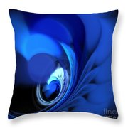 Blue Fan Leaves Throw Pillow