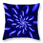 Blue Fantasy Floral Throw Pillow