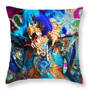 Blue Feather Carnival Costume And Colorful Background Horizontal Throw Pillow