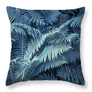 Blue Fern Leaves Abstract. Nature In Alien Skin Throw Pillow