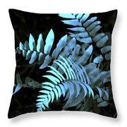 Blue Fern Throw Pillow