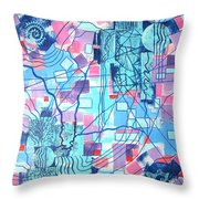 Blue Field Connections Throw Pillow