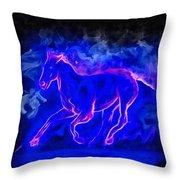 Blue Fire Horse - Da Throw Pillow