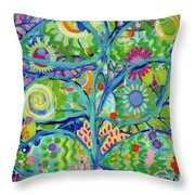 Blue Fish Forest Throw Pillow