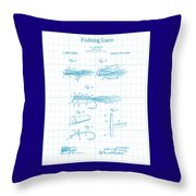 Blue Fishing Lure Patent Throw Pillow