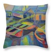 Blue Fishing Village Throw Pillow