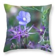 Blue Flax Wildflower With Purple Allium In Foreground Throw Pillow