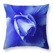 Blue Floral Begonia Throw Pillow