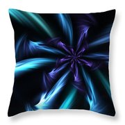 Blue Floral Fractal 12-30-09 Throw Pillow