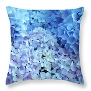Blue Floral Hydrangreas Flowers Art Baslee Troutman Throw Pillow