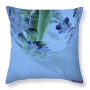 Blue Flower Vase Throw Pillow