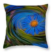 Blue Flower Whirlpool Throw Pillow