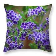 Blue Flowers Card Throw Pillow