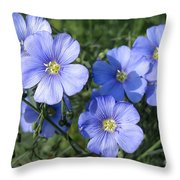 Blue Flowers In The Sun Throw Pillow