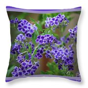 Blue Flowers With Colorful Border Throw Pillow
