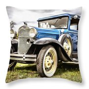 Blue Ford Model A Car Throw Pillow