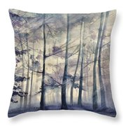 Blue Forest In Winter Throw Pillow