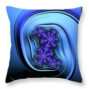 Blue Fractal Art Curved And Elegant Throw Pillow