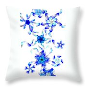 Blue Fractal Flowers Throw Pillow