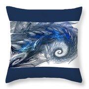 Blue Fractal Storm Throw Pillow