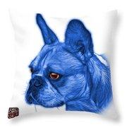 Blue French Bulldog Pop Art - 0755 Wb Throw Pillow
