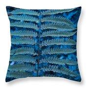 Blue Frond Throw Pillow