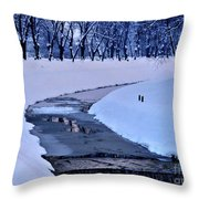 Blue Frozen River Throw Pillow