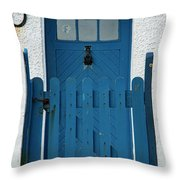Blue Gate And Door On White House Throw Pillow