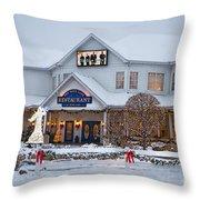 Blue Gate Restaurant Shipshewana In Winter Throw Pillow