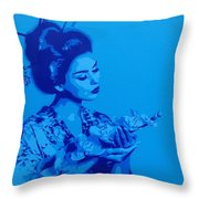 Blue Geisha Throw Pillow