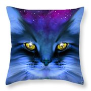 Blue Ghost Cat Throw Pillow