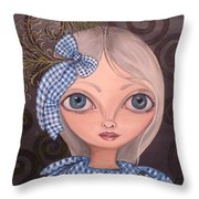 Blue Gingham And Peacock Feathers Throw Pillow
