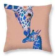 Blue Giraffes 2 Throw Pillow