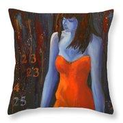 Blue Girl In Red Dress Throw Pillow by Lynn Chatman